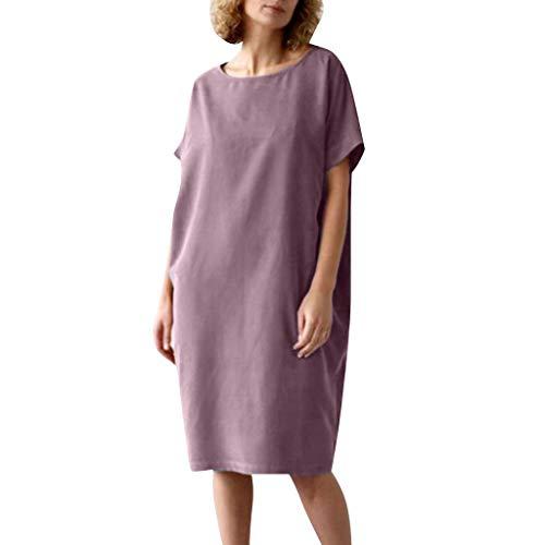 iYmitz O-Neck Kleider Damen Freizeit Strandkleider Lose Sommerkleider Einfarbig Tunika Leinen Shirtkleid Midikleider(X5-Lila,EU-36/CN-M)
