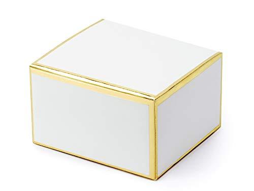 P&d 20 scatoline porta confetti bianche in vari motivi oro (bianche con bordi metallici dorati pudp29-008-019m)