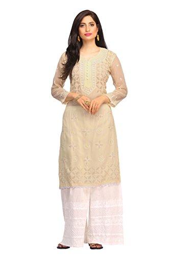 ADA Lucknowi Chikan Needlecraft Ethnic Kurti Dress Regular Fit Georgette Kurta Kurti...