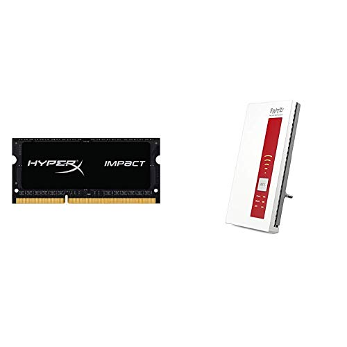 Kingston HX318LS11IB/8 Arbeitsspeicher 8GB DDR3-RAM & AVM FRITZ!WLAN Repeater 1750E (Dual-WLAN AC + N bis zu 1.300 MBit/s 5 GHz + 450MBit/s 2,4 GHz), Rot/Weiß, deutschsprachige Version