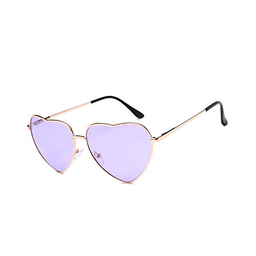 Golfbrille,NEW Vintage Heart Sunglasses Women Brand Designer Candy Color Gradient Sun Glasses Outdoor Goggles Party Oculos De Sol Gold Purple ()