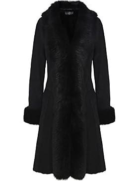 Dom Goor Mujeres Abrigo largo de piel de cordero Negro