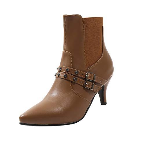 Geilisungren Stiefeletten Damen Kurzschaft Lederstiefel mit Pfennigabsatz Frauen Herbst Winter High Heels Gürtelschlaufe Nieten Ankle Boots Vintage Übergrößen Schlüpfen Chelsea Stiefel