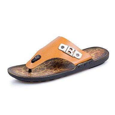 Uomo Athletic Shoes Primavera Autunno Luce Suole PU casual Tallone piano unita spaccata Nero / Bianco Blac sandali US10 / EU43 / UK9 / CN44