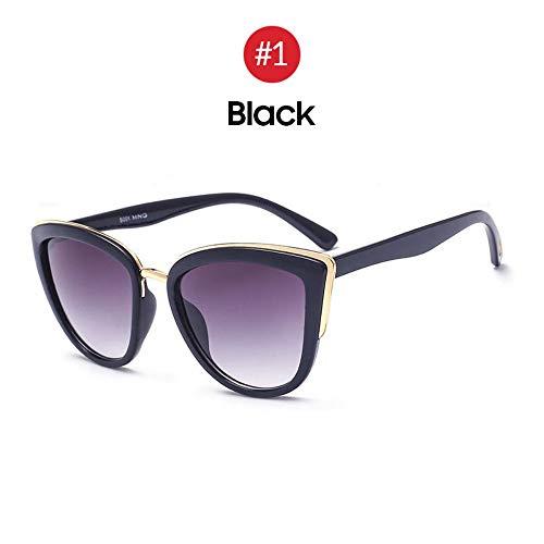 MJDABAOFA Sonnenbrillen,Meine Damen Retro Big Cat Eye Sonnenbrille Trend Gradient Schwarzen Rahmen Grau Getönten Sonnenbrille Mode Cateye Elegante Farbtöne Für Frauen