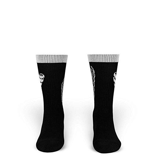 Love & Desperation | Socken von ROCKASOX | Weiß, Schwarz | Herz & Tribal | knöchelhoch | Unisex Strümpfe Size S (35-38) (Narco Kostüm)