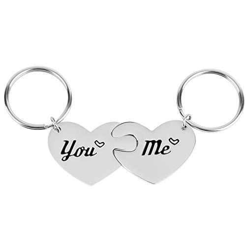 Lavias 2 Stück Paare Geschenk You & Me Paar Herz Schlüsselanhänger Ringe Schlüsselbund Valentines Geburtstag Weihnachten Geburtstag Geschenke für Ehemann Frau Freund Freundin