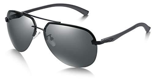 WHCREAT Herren Polarisierte Sonnenbrille Pilotenbrille mit Ultraleicht Rahmen, 100% UV400 Schutz(Schwarzer Rahmen - Schwarze Linse)