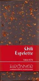Krönner Chili Espelette, Zartbitter Schokolade, handgeschöpft, angenehme Schärfe, 100 g Tafel, Kakao 65%