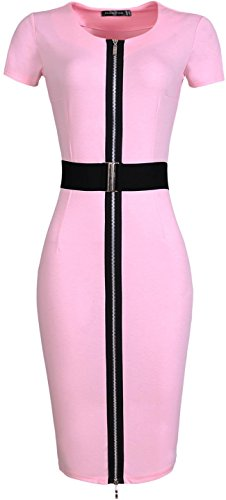 jeansian Damen Bodycon Fashion Cocktail Evening Gowns Party Pencil Casual Slim Dresses WKD198 Pink
