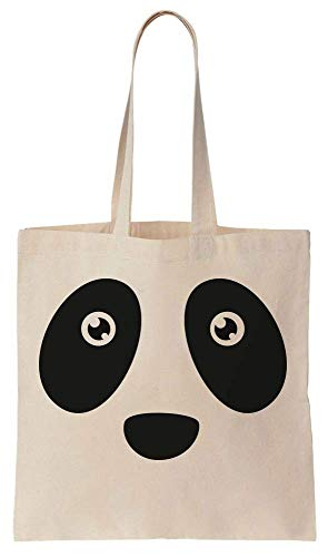 Finest Prints Zoomed In Panda's Face Cotton Canvas Tote Bag