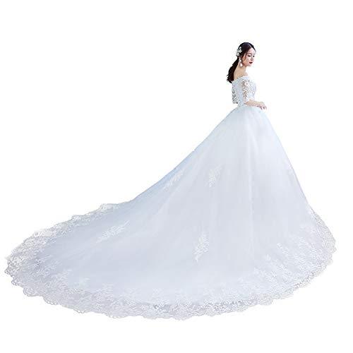 Sijux Schulterfreies Spitzen-Brautkleid für die Braut Braut Long Tail Dreamy Princess Sweetheart Kragen Kurzarm Kleid,White,XXL