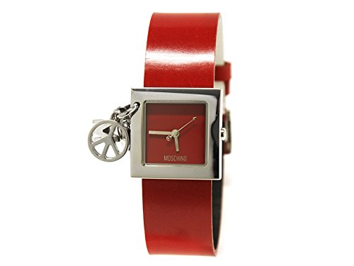 Moschino Time for Peace 2.5 mm x 2.5 mm cadran rouge bracelet cuir rouge