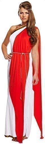 Fancy Me Damen Sexy Lang Römisch Damen Toga Griechische Göttin Maxi Venus-Aprodite Kostüm Kleid Outfit 8-12