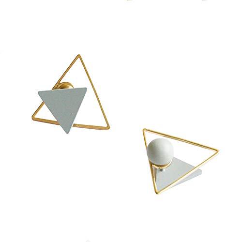 Elegante Damen Ohrringe, Rosa Dreieck Ohrstecker Ball Ohrstecker, 2 Arten zu Tragen, Blue - Blues Dreieck