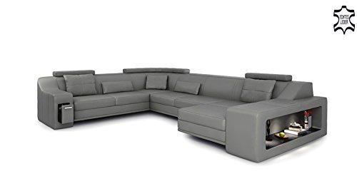 XXL Wohnlandschaft Leder grau / schwarz Couch Sofa U-Form Ledersofa Ledercouch Designsofa mit LED-Licht Beleuchtung EMPORIO - 4