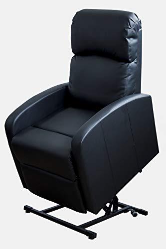 Astan Hogar Premium Confort Lift up Sillón Relax Con Función Auto-Ayuda Levanta Personas Y Reclinación Eléctrica, Tapizado Anti-cuarteo Negro, Compacto