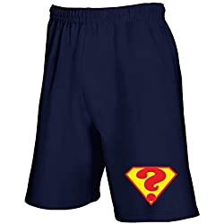 Pantalones Deportivos Cortos Azul Royal T0676 Punto INTERROGATIVO Superman Fun Cool Geek