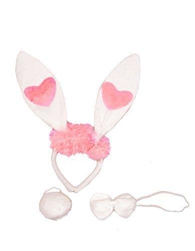 Weiß Bunny Ohren, Schleife, Schwanz & Märchen Hasen-Kostüm