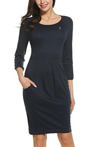 Parabler Damen Etuikleid Strickkleid Freizeitkleider Business Kleid 3/4 Arm Rundhals Knielang Winter Herbst Blau M