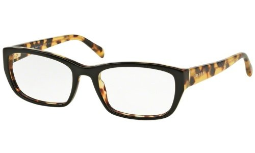 Prada Eyeglasses Women's 18O NAI-1O1, Black / Medium Tortoise Frame Plastic, 52mm