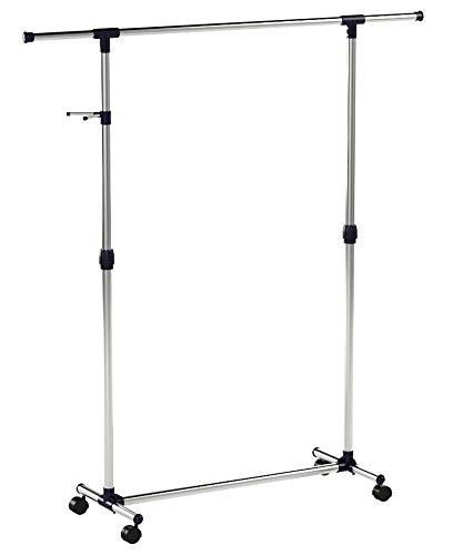 SONGMICS Kleiderständer Ausziehbar 97-165 cm mit Rollen, Metall, blau, 150 x 44 x 165 cm