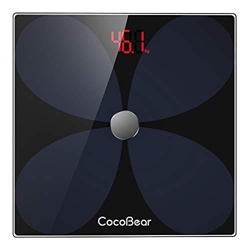 CocoBear Körperfettwaage Bluetooth Personenwaage mit APP, Smart digitale Waage für Körperfett, BMI, Gewicht, Muskelmasse, Wasser, Protein, Skelettmuskel, Knochengewicht, BMR, usw