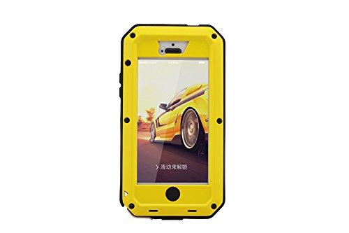 iPhone 5S Fall stoßfest Fall, Gorilla-Glas [Wasserdicht] Schneedicht Staub/Schmutz Beweis, Military Bumper Heavy Duty Cover Schutz für iPhone 5/5S & iPhone 5SE Case [10,2cm] gelb gelb (Iphone 5s Fällen, Gorilla-glas)