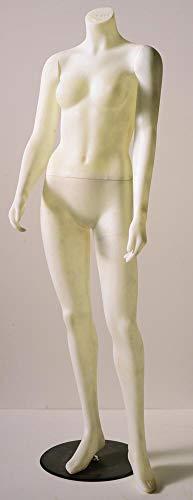 E+N Schaufenster-Figur Schaufenster-Puppe weiblich zerlegbar ohne Kopf Gebraucht, mit Gebrauchsspuren!, mit Standplatte, Fußdorn, beige-transparentfarben, Polyester