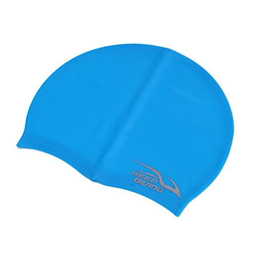 Gazechimp Erwachsene Silikon Badekappe Badehaube - Sehr elastisch - für kurze und lange Haare - In mehreren Farben - Blau