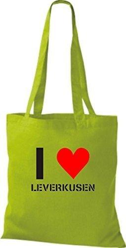 Tote Bag Shirtinstyle Amo Leverkusen La Tua Città Di Diversi Colori Verde Lime