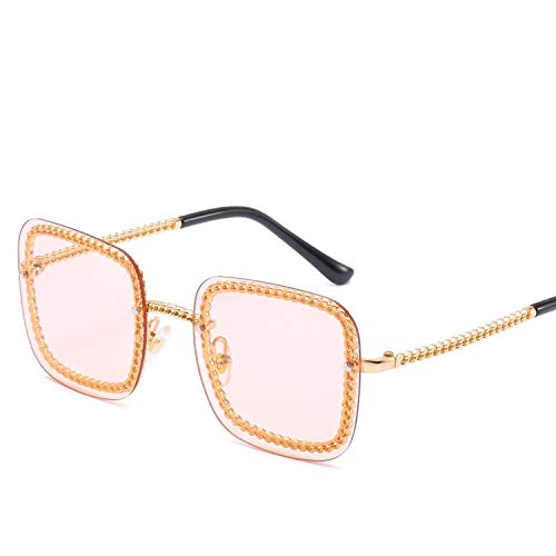 FIRM-CASE Quadrat-Sonnenbrille-Dame-Sonnenbrille-Frauen-Weinlese-Randlos Gradient-Sonnenbrillen Weiblich, 3