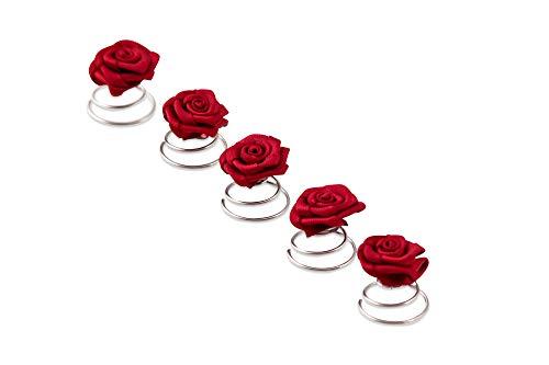 5 Roses Pins - accessoires de cheveux de mariée - spirale Epingle Curlie - Set rouge bordeaux