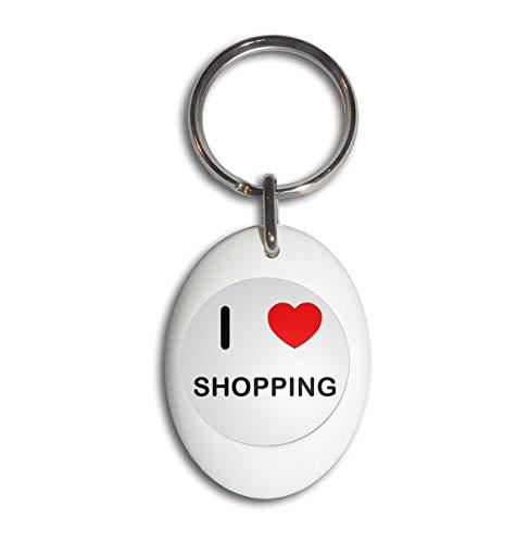 BadgeBeast.co.uk I Love Shopping - Weißer ovaler Plastikschlüsselring