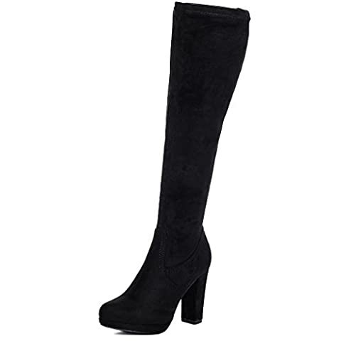 Platform Block Heel Thigh Boots Black Suede Style Sz 7