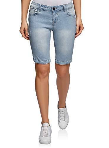 Oodji ultra donna shorts lunghi in jeans, blu, w27 / it 42 / eu 38