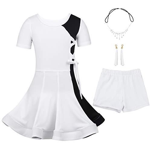 iEFiEL Mädchen Tanzkleid Latein Kleid Ballsaal Samba Cha Cha Tanz Kostüme Lateinkleid Ballettkleid Wettbewerb Dancewear Weiß 128-140