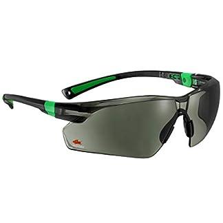Nocry Sécurité Lunettes de soleil avec Vert teinté résistant aux rayures enveloppante objectifs et antidérapant Grips, protection UV 400. réglable, noir et vert cadres