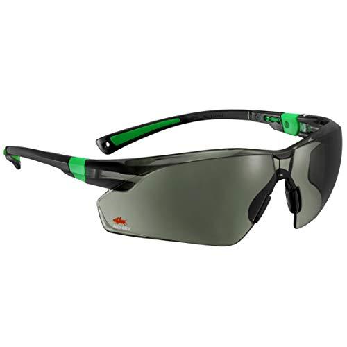 Gafas de sol de seguridad con lentes verdes resistentes a los arañazos y con agarre antideslizante, protección UV 400 de Nocry Ajustable, con moldura negra y verde.