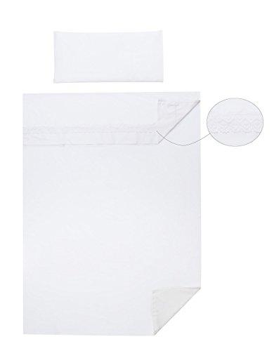 Vizaro - Spanisches BETTWÄSCHE SET 3 Tlg. ''Triptico'' Blatt-Satz für Kinderwiege (60x120cm) - 100% REINE BAUMWOLE - Made in EU - ÖkoTex - SICHERES PRODUKT - K. Weiße Stickerei (Baby-bettwäsche-blatt-satz)