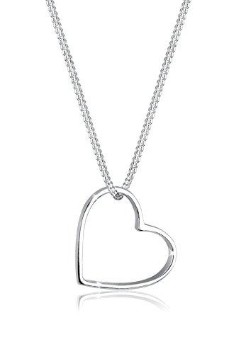 Elli Damen Halskette Kette Anhänger Herz 925 Sterling Silber - 45cm Länge (Herz Kette-armband)