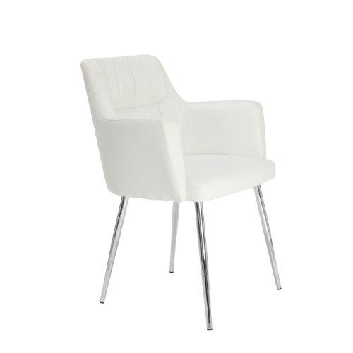 Premier Housewares 2403162 Stuhl, Kunstleder, verchromte Beine, 59,5 x 60 x 79 cm, Weiß