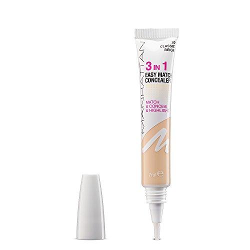 Manhattan 3in1 Easy Match Concealer, Farbe 20, classic beige, passt sich perfekt dem Hautton an, 1er Pack (1 x 7 ml)
