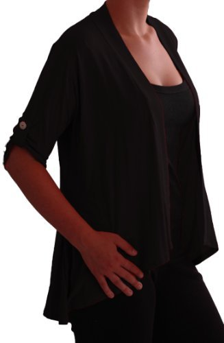 Eyecatch TM - Emily offener Damen Bolero Cardigan Große Größen schwarz Gr. 48