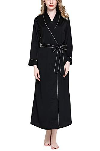 YAOMEI Damen Morgenmantel Bademäntel Satin Kimono, Lang Nachtwäsche Nachthemd Robe Kimono Negligee locker Schlafanzug für Spa Hotel Sauna Brautjungfer, Party, Bridal Shower (Large, Schwarz)