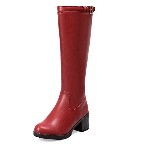 AgooLar Damen Mittler Absatz Hoch-Spitze Rein Reißverschluss Stiefel mit Schnalle Rot