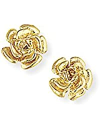Jewelco London Ladies 9ct Yellow Gold Rose Flower Petals Stud Earrings - 10mm