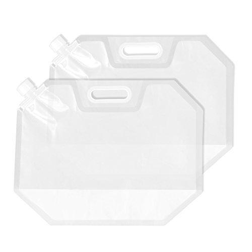 Juvale Faltbarer Wasserbehälter - 2er-Pack, Faltbarer Kunststoff-Wasserbeutelträger, BPA-frei, tragbare Wasserspeicher, Tank-Träger für Camping, Outdoor, Wandern - Transparent, 2 Liter (2 Gallon Tank)