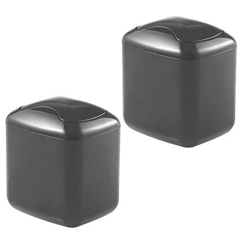 MetroDecor mDesign 2er-Set Tischmülleimer mit Schwingdeckel – Kosmetikeimer für Abfälle im Badezimmer – praktischer Mülleimer aus Kunststoff für 2,7 Liter – dunkelgrau