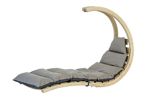 AMAZONAS Swing Lounger Anthracite stylische Schwebeliege aus hochwertigem FSC Fichtenholz bis 160 kg in Dunkelgrau